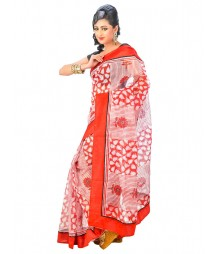 Red & White Self Design Regular Wear Saree DSCG004