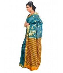 Blue & Golden Colors Self Design Saree DSCG015