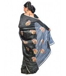Black Color Self Design Saree DSCG018