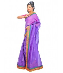 Purple Color Self Design Regular Wear Saree DSCG031