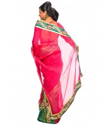 Magenta Color Self Design Regular Wear Saree DSCG033