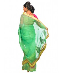 Light Green Color Self Design Regular Wear Saree DSCG034