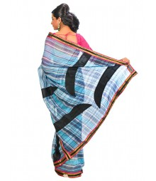 Sky Blue & Black Colors Self Design Regular Wear Saree DSCG035