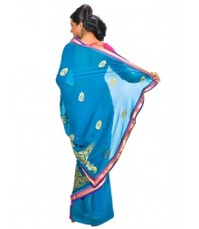 Deep Blue Color Self Design Regular Wear Saree DSCG037