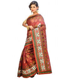 Marron Color Self Design Regular Wear Saree DSCG039