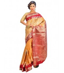 Golden & Marron Colors Self Design Regular Wear Saree DSCG042