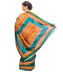 Golden & Blue Colors Self Design Regular Wear Saree DSCG044