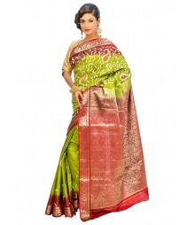 Marron & Green Colors Self Design Regular Wear Saree DSCG045