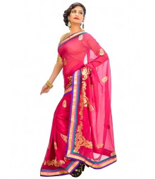 Magenta Colors Self Design Regular Wear Saree DSCG049