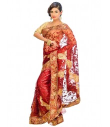 Marron Color Self Design Regular Wear Saree DSCG051