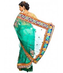 Green Color Self Design Regular Wear Saree DSCG053