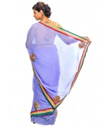 Cyan Color Self Design Regular Wear Saree DSCG057