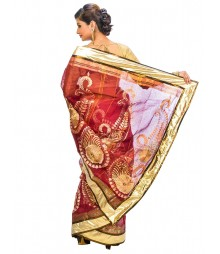 Marron Color Self Design Regular Wear Saree DSCG058