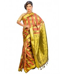 Golden & Marron Colors Self Design Regular Wear Saree DSCG059
