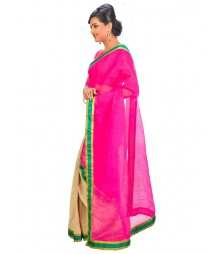 Magenta & Golden Self Design Regular Wear Saree DSCG064
