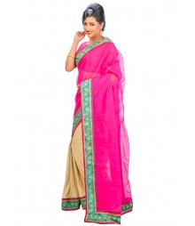 Magenta & Golden Self Design Regular Wear Saree DSCG066