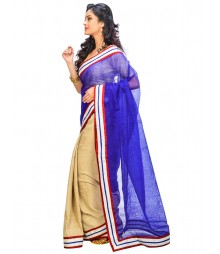 Blue & Golden Colors Self Design Wear Saree DSCH001