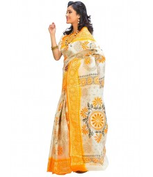White & Golden Colors Self Design Fashion Saree DSCH010