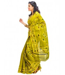 Yellow Green Color Self Design Wear Fashion Saree DSCH012