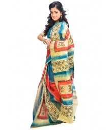 Blue & Red Colors Self Design Wear Fashion Saree DSCH016