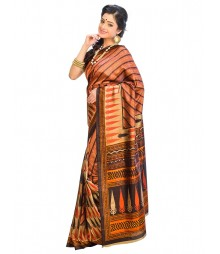 Brown & Black Colors Self Design Wear Fashion Saree DSCH021