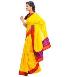 Yellow Color Self Design Wear Fashion Saree DSCH028
