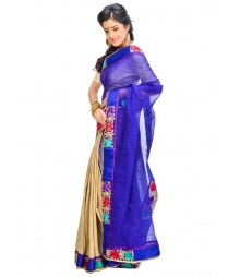 Blue & Golden Self Design Ethnic Wear Fashion Saree DSCH033