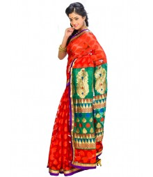 Red & Green Self Design Ethnic Wear Fashion Saree DSCH035