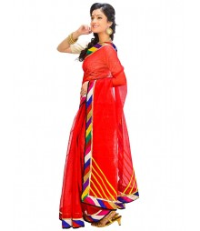 Red Self Design Ethnic Wear Fashion Saree DSCH039