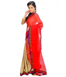 Red & Golden Self Design Ethnic Wear Fashion Saree DSCH040