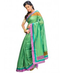 Green & Purple Self Design Ethnic Wear Fashion Saree DSCH041