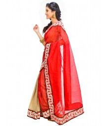 Red & Golden Self Design Ethnic Wear Fashion Saree DSCH043