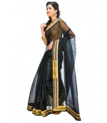 Black & Golden Self Design Ethnic Wear Fashion Saree DSCH044