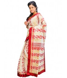 Offwhite & Red Self Design Ethnic Wear Fashion Saree DSCH050