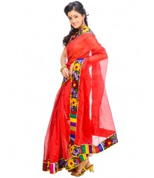 Red Self Design Ethnic Wear Fashion Saree DSCH053