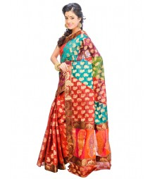 Marron & Green Self Design Ethnic Wear Fashion Saree DSCH055