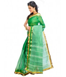 Green & Golden Self Design Ethnic Wear Fashion Saree DSCH062