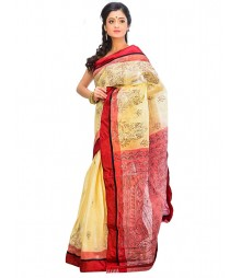 Golden & Red Self Design Ethnic Wear Fashion Saree DSCH063