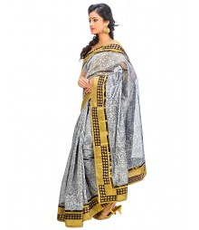 Offwhite & Golden Self Design Ethnic Wear Fashion Saree DSCH065