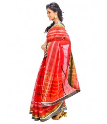 Red & Green Self Design Ethnic Wear Fashion Saree DSCH067