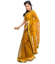 Brown & Golden Self Design Ethnic Wear Fashion Saree DSCH068