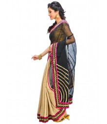 Black & Golden Colors Self Design Ethnic Wear Fashion Saree DSCH069