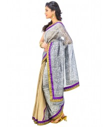 White Self Design Ethnic Wear Fashion Saree DSCH071