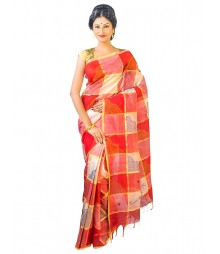 Self Design Bengal Handloom Dhaniakhali Tant Cotton Saree FKB029