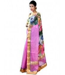 Pink & Green Fusion Collection Silk Saree MDL-S-SR1-003