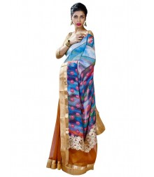 Mustard & Blue Gorgeous Fusion Collection Saree MDL-S-SR1-006