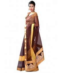 Brown & Yellow Fusion Designer Collection Saree MDL-S-SR1-012