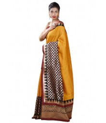 Yellow & Maroon Chanderi Designer Silk Saree MDL-S-SR1-014