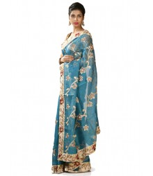 Blue & Golden Hand Zari Exclusive Cotton Silk Saree MDL-S-SR1-015