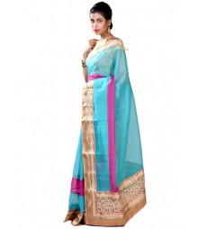 Aqua & Golden Stunning Collection Designer Silk Saree MDL-S-SR1-016